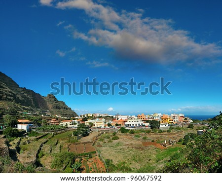 Agulo in La Gomera island in Canary Islands, Agulo is one of the smallest villages on the island where bananas are grown, Spain