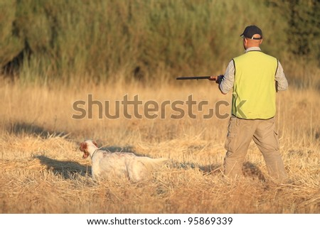 Agustin Romain (pointer and english setter trainer) hunting with pointer and shotgun