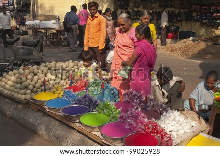 AHMADABAD, INDIA - OCTOBER 30: Stall selling colorful paint powder for the Hindu festival of Holi at a crowded market on October 30, 2007 in Ahmadabad, Gujarat, India
