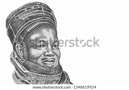 Ahmadu Bello portrait Portrait from Nigeria 200 Naira  Banknotes. An Old paper banknote, vintage retro. Famous ancient Banknotes. Collection.