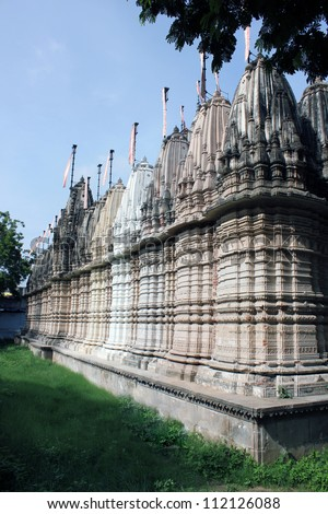AHMEDABAD, GUJARAT, INDIA - AUGUST 21 : Hutheesing Jain Temple on August 21, 2012 in Ahmedabad. View from the back side. Built by Sheth Hatheesing Kesarising & Harkumvar Shethani  in 1847 A.D.
