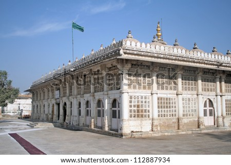 """AHMEDABAD, GUJARAT / INDIA - MARCH 26 : Sarkhej Roza on March 26, 2012 in Ahmedabad. Tomb of Sufi Saint Shaikh Ahmed """"Ganj Baksh"""" Khattu. Built in 1451 A.D. View from South East."""