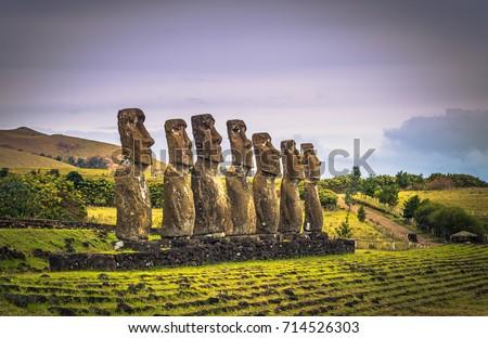 Ahu Akivi, Easter Island - July 11, 2017: Moai altar of Ahu Akivi Stok fotoğraf ©