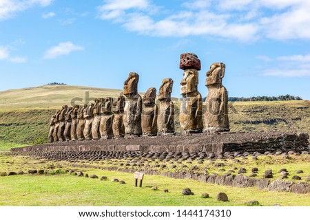 Ahu Tongariki is the largest ahu on Easter Island. Its moai were toppled during the island's civil wars and in the twentieth century the ahu was swept inland by a tsunami. Stok fotoğraf ©