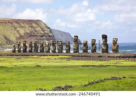Ahu Tongariki - the largest ahu on Easter Island.