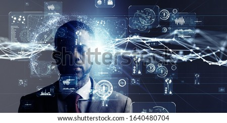 AI (Artificial Intelligence) concept. Communication network. Stockfoto ©