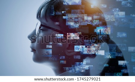 AI (Artificial Intelligence) concept. Contents concept. Social networking service. Streaming video. communication network. Stockfoto ©