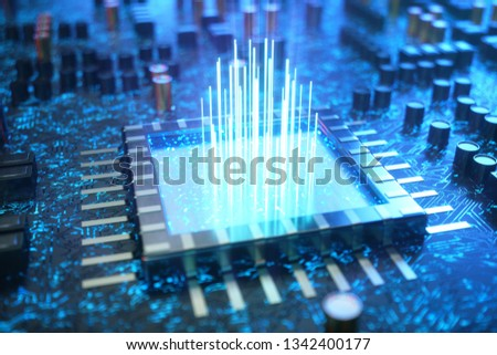 AI - artificial intelligence concept CPU. Machine learning. Central Computer Processors on the circuit board with luminous tracks. Encoded data. Computer chip over circuit background. 3D Illustration Stock foto ©