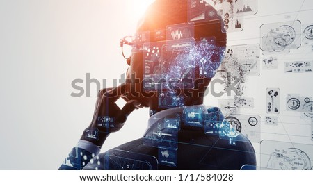 AI (Artificial Intelligence) concept. Deep learning. GUI (Graphical User Interface).