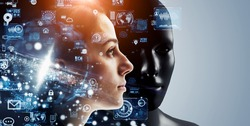 AI (Artificial Intelligence) concept. Deep learning. Machine learning. Singularity.