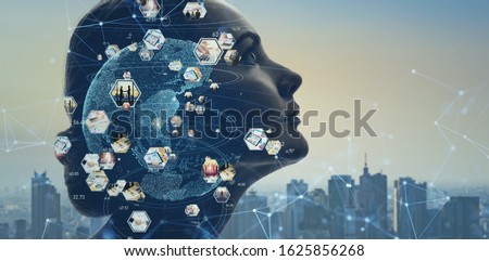 AI (Artificial Intelligence) concept.  Global communication network. Worldwide business.