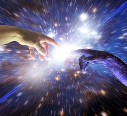 AI Artificial Intelligence cyborg hand of god reaches to human fingers to create a singular intelligent understanding between humanity science robot and machine