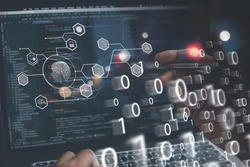 AI, Artificial Intelligence, digital software technology, mobile app development, Internet of Things IoT concept. Programmer, software engineer coding on laptop computer with technology icons