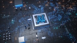 AI artificial intelligence three dimensional electronic intelligent hardware chip scene