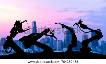 Ai assistant technology , industry 4.0 , artificial intelligence trend concept. Silhouette of automation robot arms. Blur metropolis city building background. #764387488
