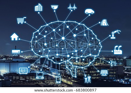 AI concept. Artificial Intelligence and various industries.