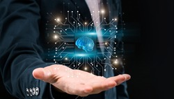 AI For Business. Unrecognizable Businessman Holding Microchip Holgram With Digital 3D Brain, Creative Collage In Futuristic Design, Panorama