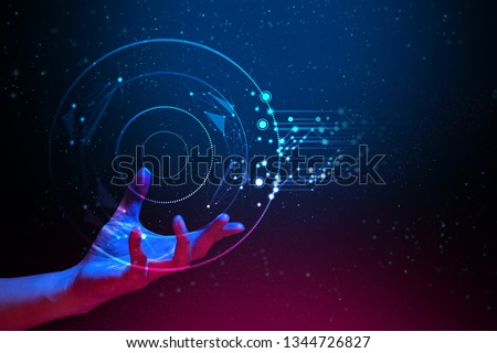 ai global network technology, hologram with light and hand of human with blue and red color glow in sci-fi futuristic concept, particle with digital data, cyber information, science and life, analysis