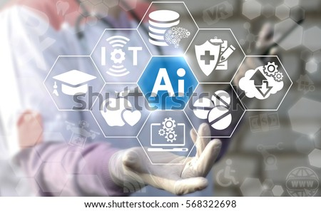 AI IT iot medicine integration automation computer health care web big data concept. Artificial intelligence healthy computing modernization medical engineering technology #568322698