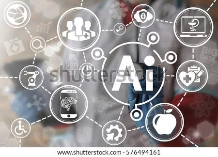 AI IT iot medicine integration automation computer health care web big data concept. Artificial intelligence healthy computing modernization medical engineering technology