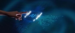 AI Learning and Artificial Intelligence Concept. Business, modern technology, internet and networking concept.