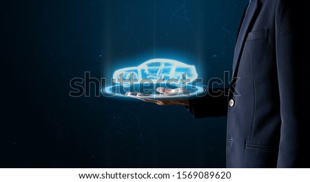 AI-Powered System Delivers Safer Vehicles.Autonomous self drive vehicle.various automotive sensing system.Car of the Future. Stockfoto ©