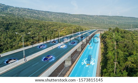 AI-Powered System Delivers Safer Vehicles.Autonomous self drive vehicle.various automotive sensing system.Car of the Future.letting it navigate itself 360 degree.3d rendering. Stockfoto ©