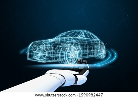 AI-Powered System Delivers Safer Vehicles.Autonomous self drive vehicle.various automotive sensing system.Car of the Future.3d rendering. Stockfoto ©