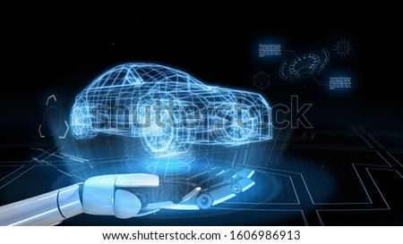 AI-Powered System Delivers Safer Vehicles.Autonomous self drive vehicle.various automotive sensing system.Smart Car of the Future.3d rendering. Stockfoto ©