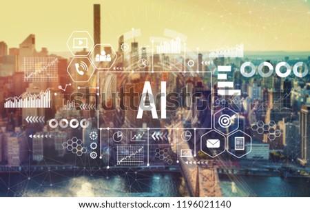 AI with the New York City skyline near midtown #1196021140