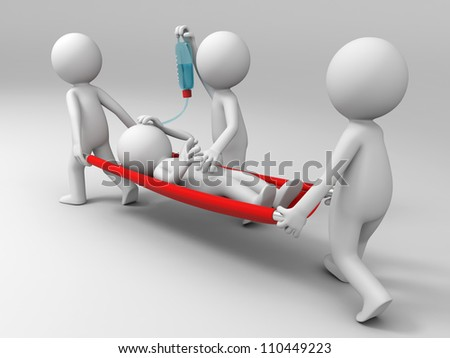 Aid/ patient /three people carrying the patient