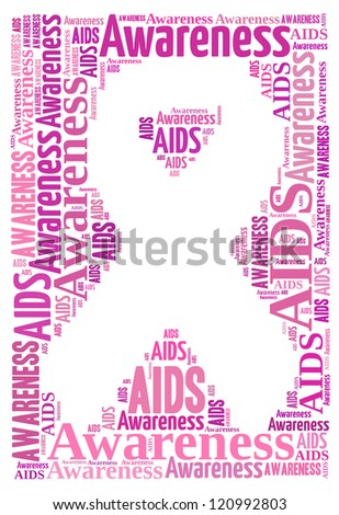 AIDS awareness info-text graphics and arrangement concept (word clouds)
