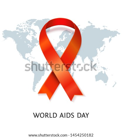 AIDS awareness red satin ribbon on world map background. illustration of symbol for solidarity with HIV-positive people