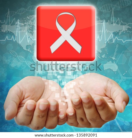 Aids ribbon icon on hand ,medical background