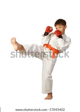 aikido boy isolated on white