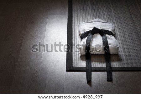 aikido gi with copy space - stock photo
