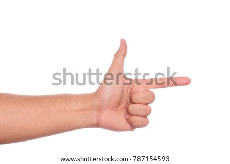 Aiming hand sign.hand pointing or shooting gesture isolated on white background with clipping path. #787154593