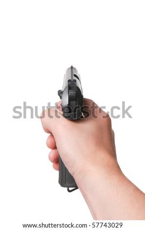 Aiming. Male hand keeps gun