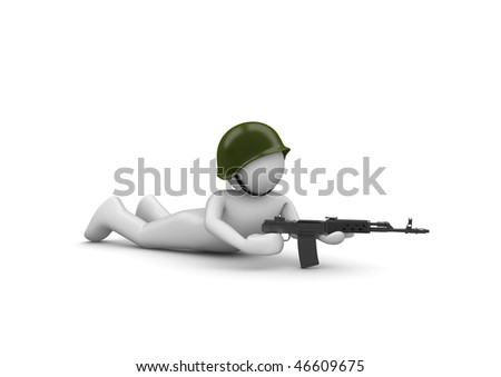 Aiming Soldier in Ambush (3d isolated characters on white background series)