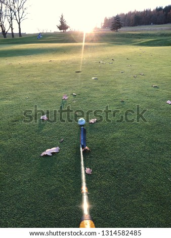 Aiming with putter club on golf green pitch