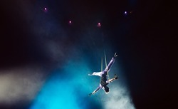 Air acrobat in the circus.