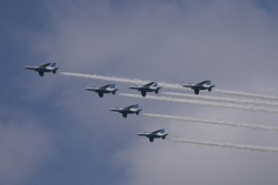 Air acrobatic show by Blue Impulse, Japanese fighter jets