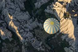 Air balloon aerial view over fields, Cappadocia, Turkey. Aerial view over mountains. Cappadocia aerial landscape. Air balloon landing in Goreme, Cappadocia, Turkey. Air balloon in Cappadocia mountains