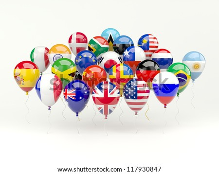 Air balloons with flags isolated on white