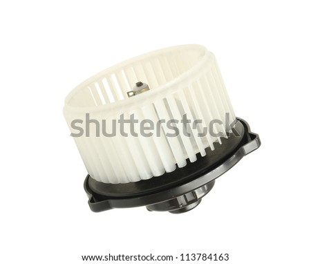 Air blower fan motor of car isolated on white background