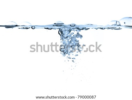 air bubbles in water isolated on white - stock photo