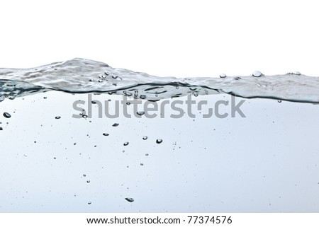 air bubbles in water isolated on white background