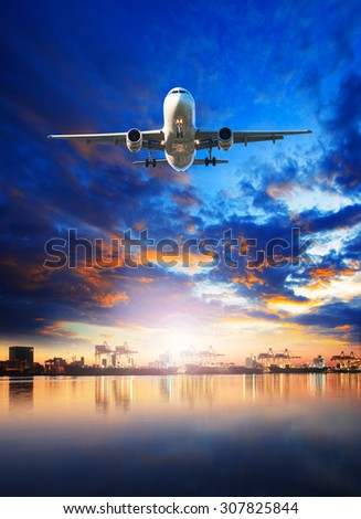 air cargo plane flying over ship in harbor port use for freight ,logistic and import - export commercial business industry