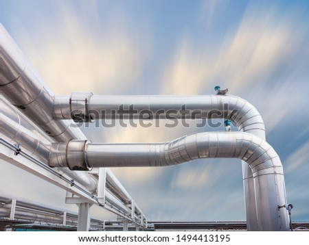 Air Chiller Pipeline and HVAC System of Department Store, Overhead Building Structure of Air Conditioning Chiller Pipe and Outlet Cooling Systems. Insulation Cover for Piping of Industrial Equipment #1494413195