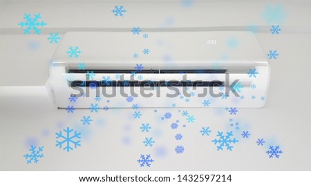 air condition aircondition cooling  snowflake flow summer season  in a room